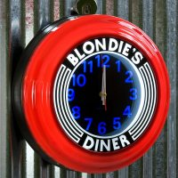 Blondies Diner Red Lighted Diner Wall Clock at Retro Planet