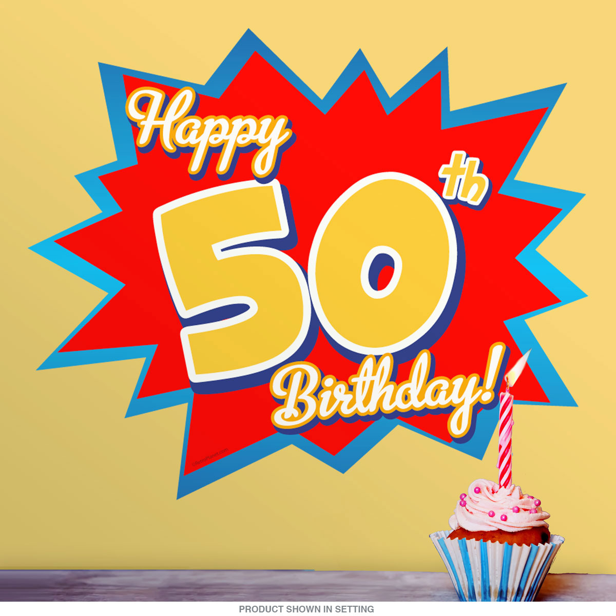 Happy 50th Birthday Party Wall Decal at Retro Planet