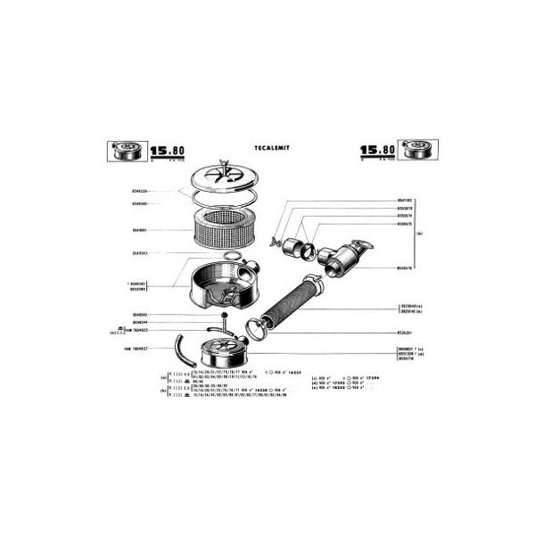 Renault Caravelle et Floride R1131, catalogue de pièces