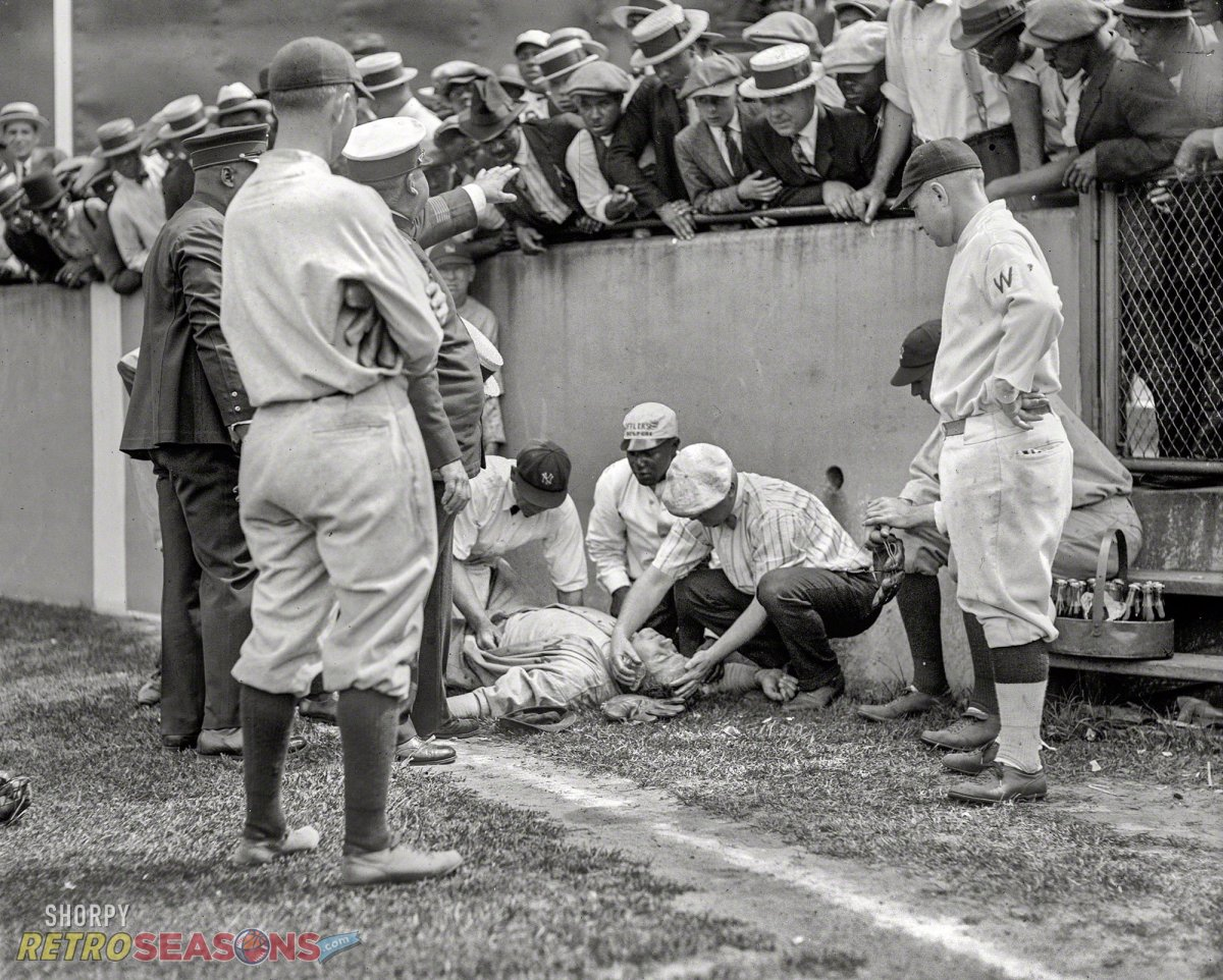 Babe ruth runs into wall and is knocked unconscious