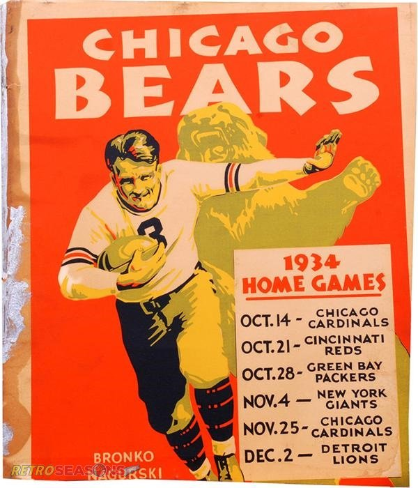 1934 Chicago Bears Game Day NFL Program and Schedule