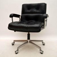 Retro Leather Swivel Desk Chair by Girsberger Vintage 1960 ...