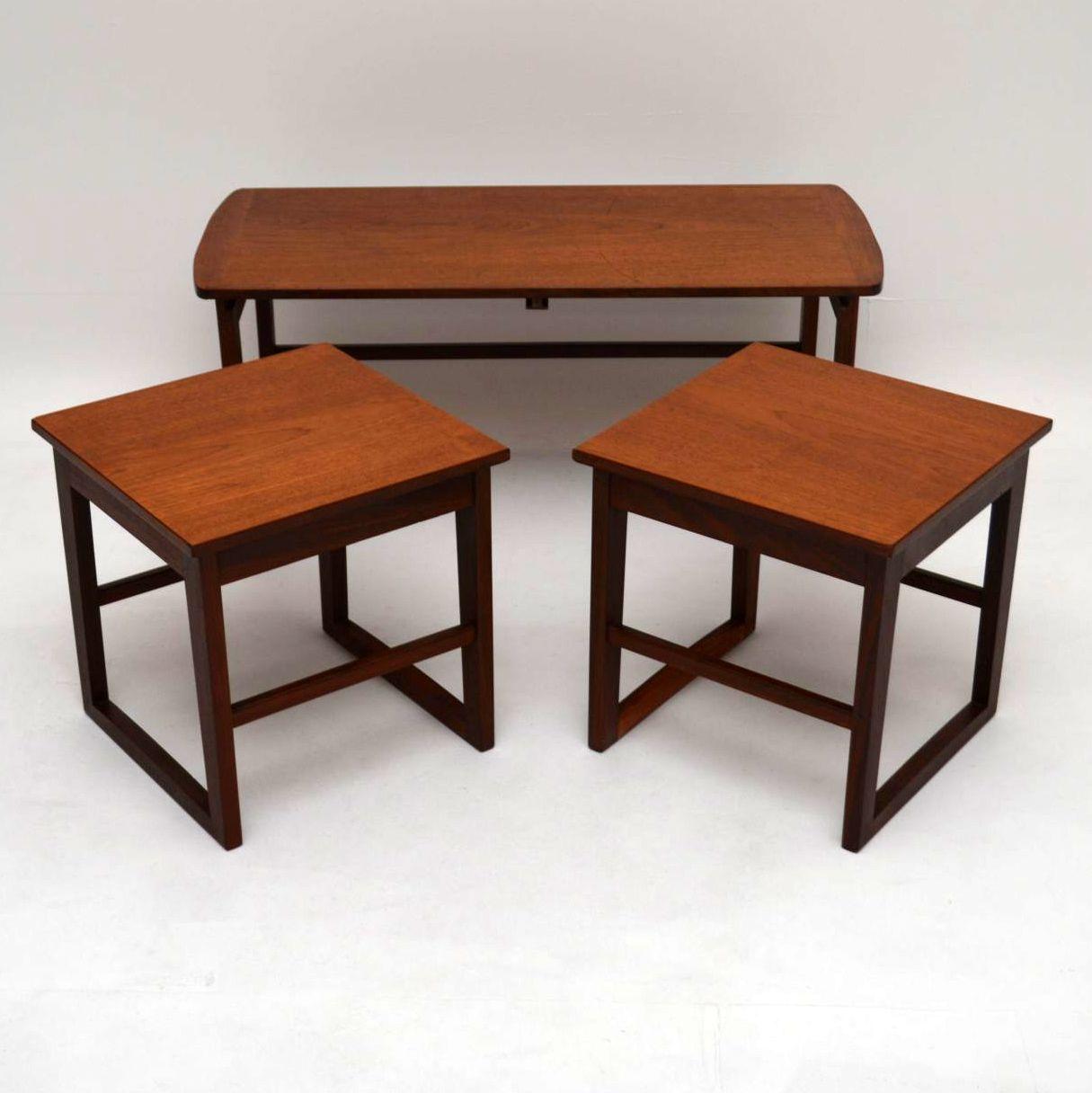 Retro Teak Nesting Coffee Table Vintage 1960s