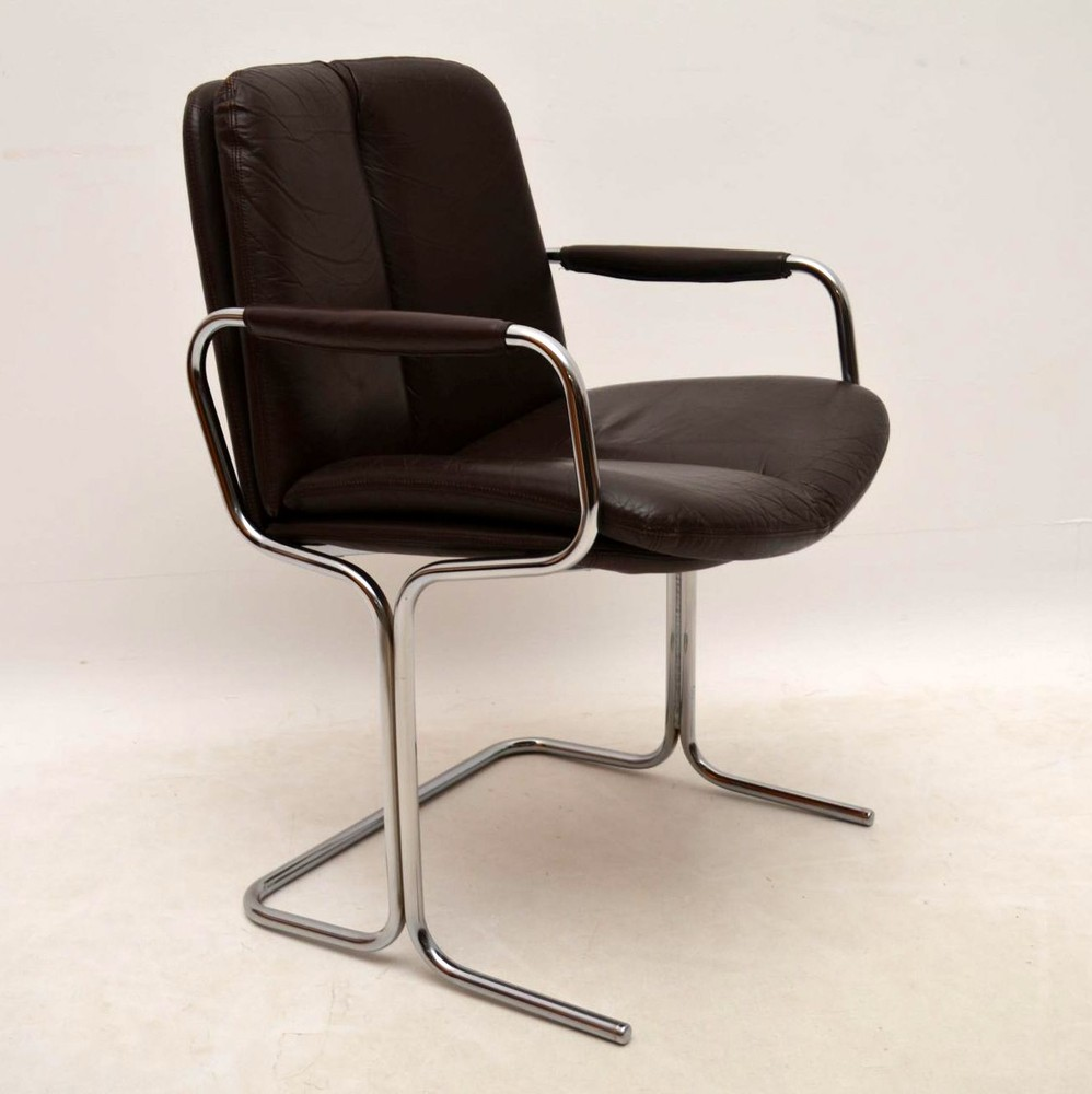 Set Of 4 Retro Leather & Chrome Dining Chairs By Pieff
