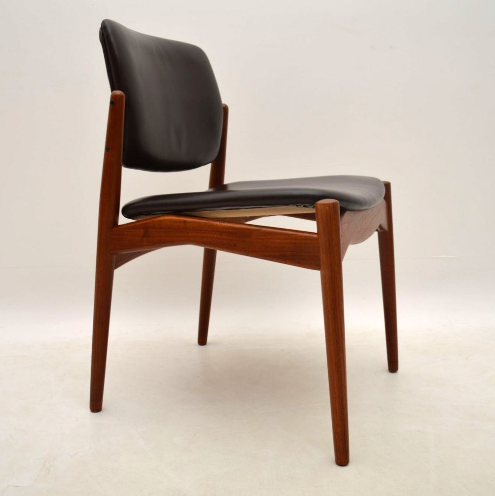 danish dining chair french styles set of 6 teak and leather chairs by erik buch vintage 1960's | retrospective ...