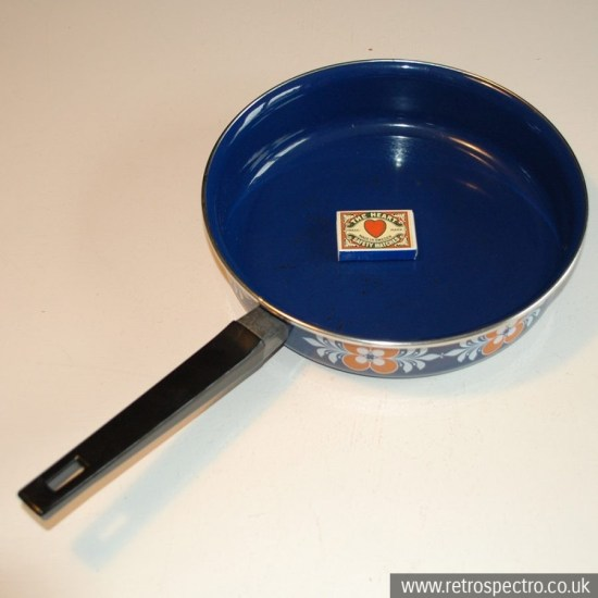 Blue enamel pan with orange pattern