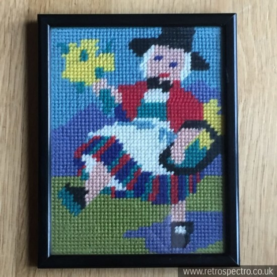 Welsh lady needlepoint tapestry framed picture. Boots Picture Framing Department.