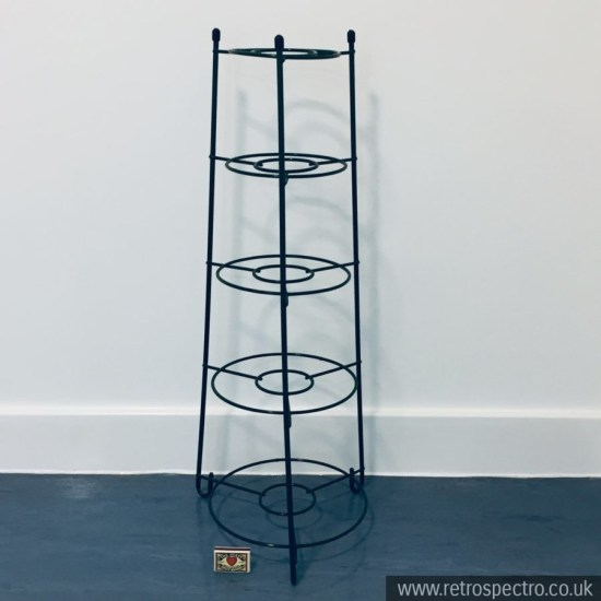 Five tier vintage plastic coated metal saucepan stand