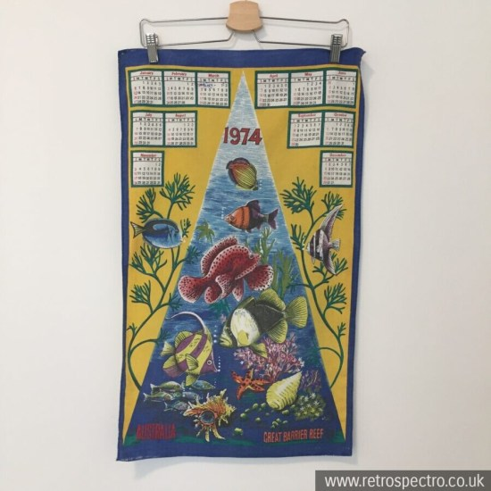 Australia Barrier Reef 1974 Calendar Tea Towel