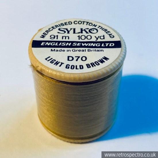 Vintage Sylko Cotton Reel - Light Gold Brown D70