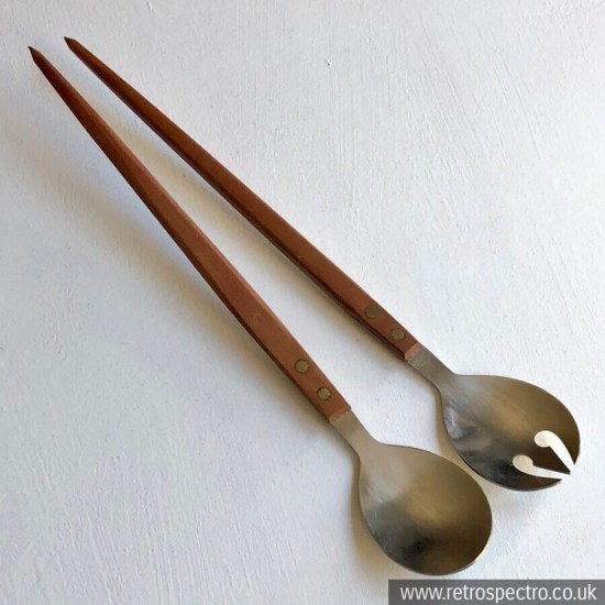 Vintage Salad Servers - long wooden handle & stainless steel