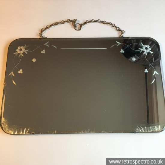Vintage Rectangle Wall Mirror With Floral Pattern & Bevelled Edge