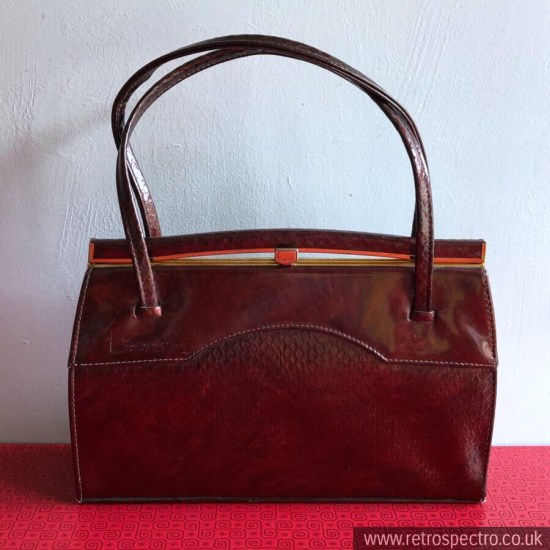 Vintage Holmes Of Norwich Handbag Burgundy Snake Look Real Leather