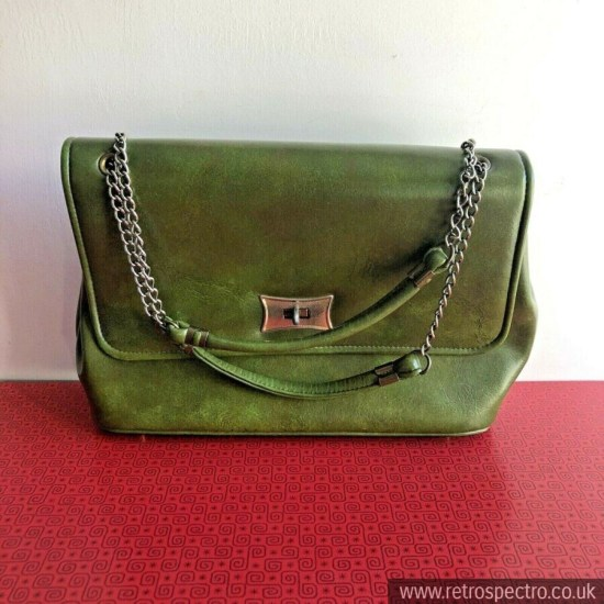 intage Green Vinyl Handbag/Shoulder Bag Circa 60's/70's