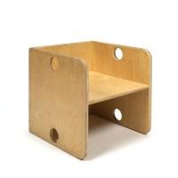 Vintage wooden cube chair for kids - Retro Studio