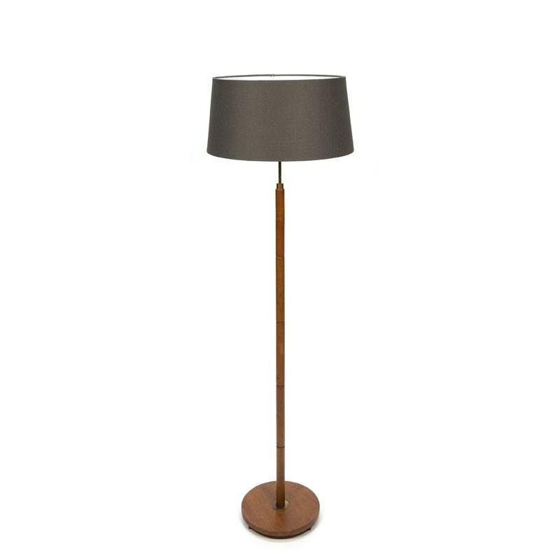 Teakhouten vintage vloerlamp met stoffen kap  Retro Studio