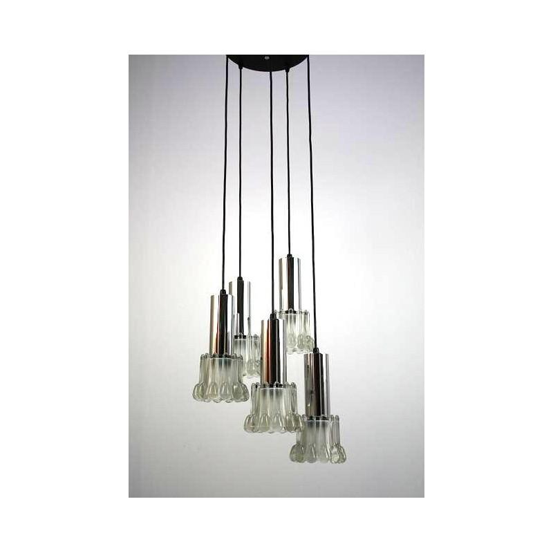 Jaren 60 hanglamp met 5 glazen kelken  Retro Studio