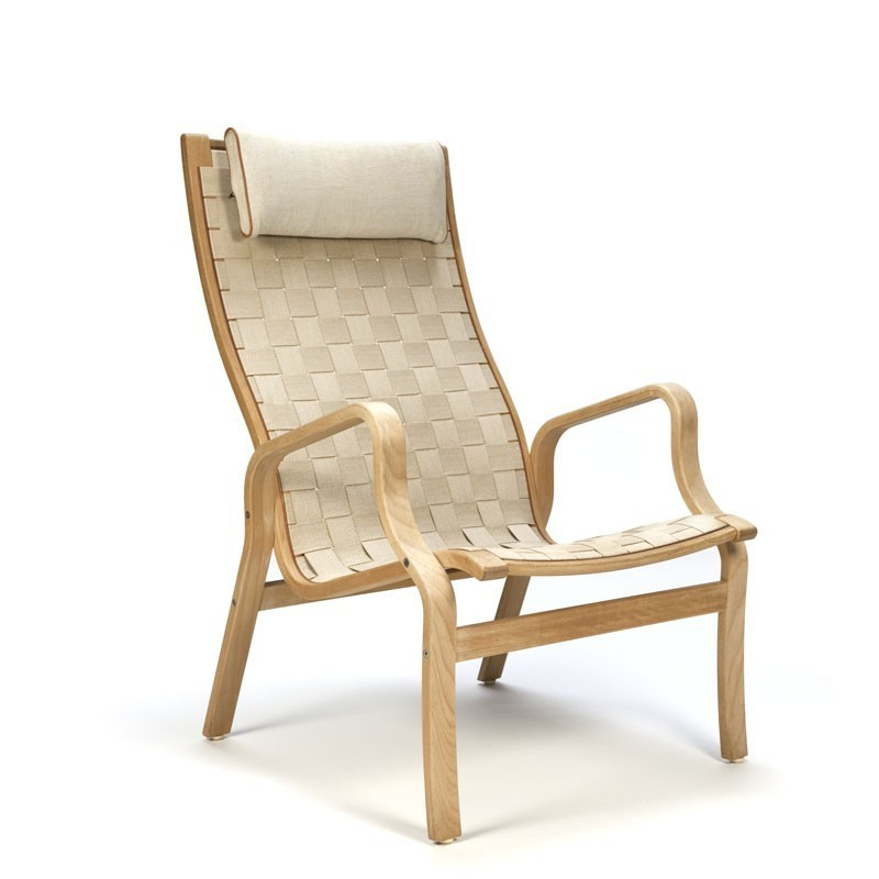 Vintage Danish lounge chair with webbing linen  Retro