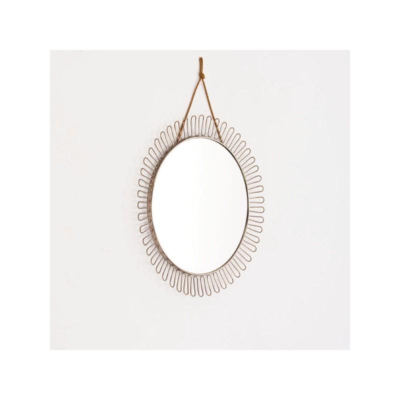 Ronde spiegel jaren 5060 aan ketting  Retro Studio