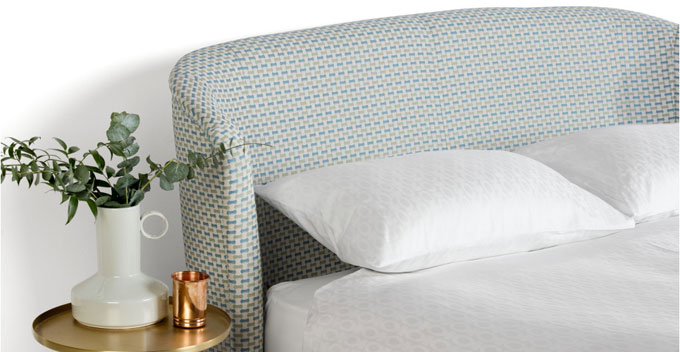 Lulu midcenturystyle bed in Honeycomb Weave at Made  Retro to Go