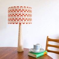 Retro-style barkcloth table lamps and cushions at ...