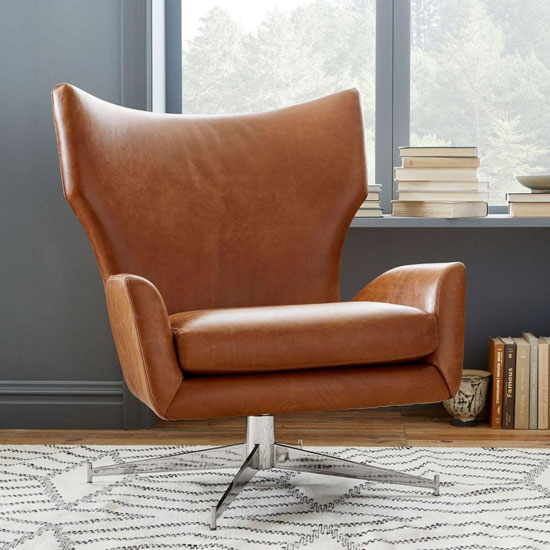 1960sstyle Hemming leather swivel armchair at West Elm