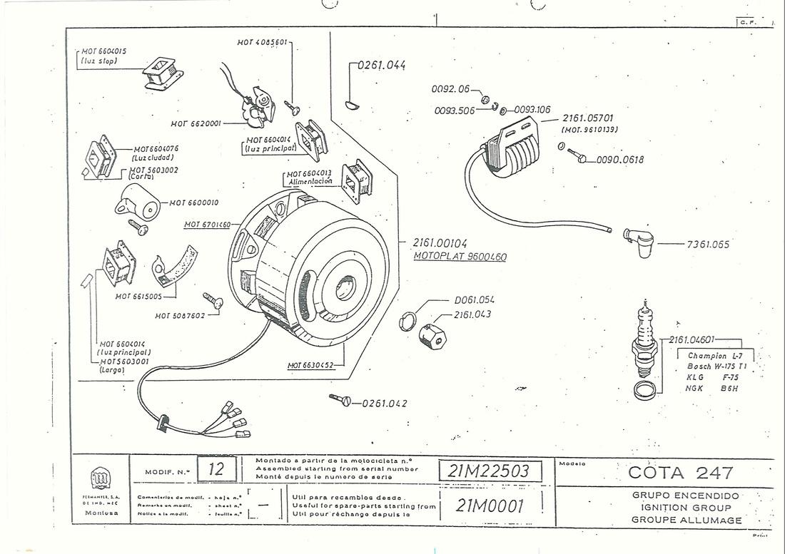 Montesa Cota 250 Full Parts Manual