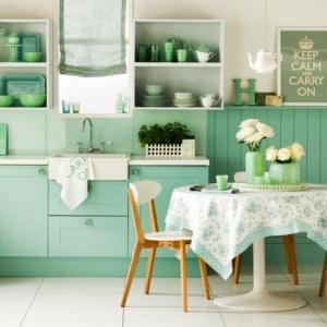 Cocina y utensilios color verde menta