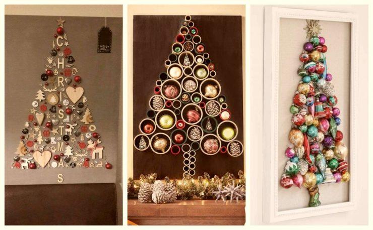 Árboles de Navidad con adornos navideños en pared