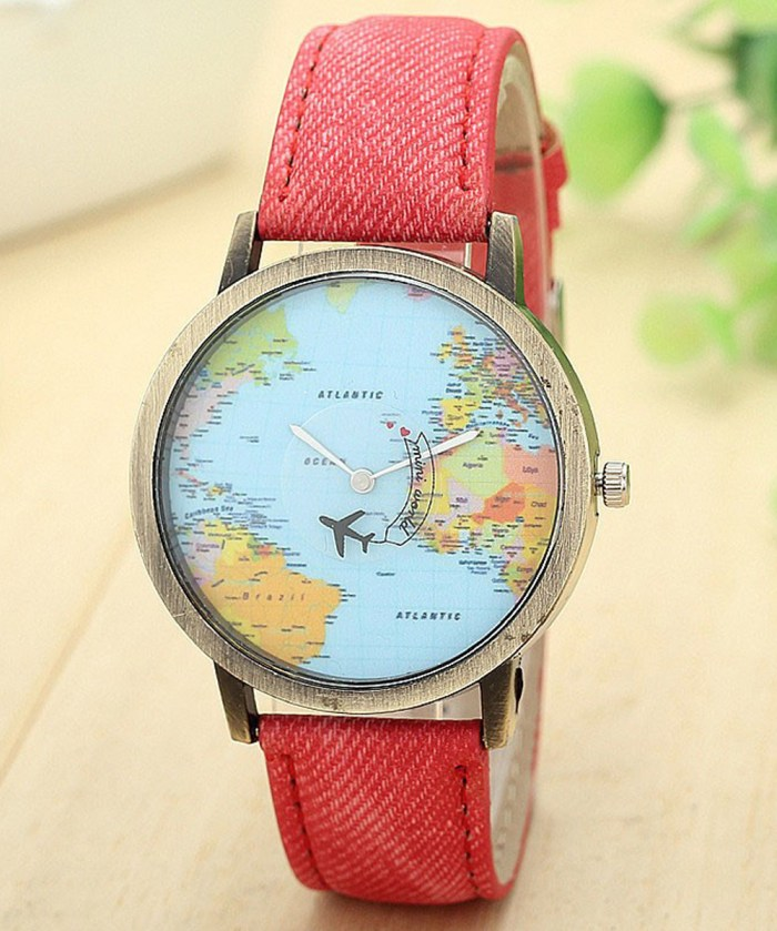 3D Moving Airplane Wrist Watch with World Map| Pink