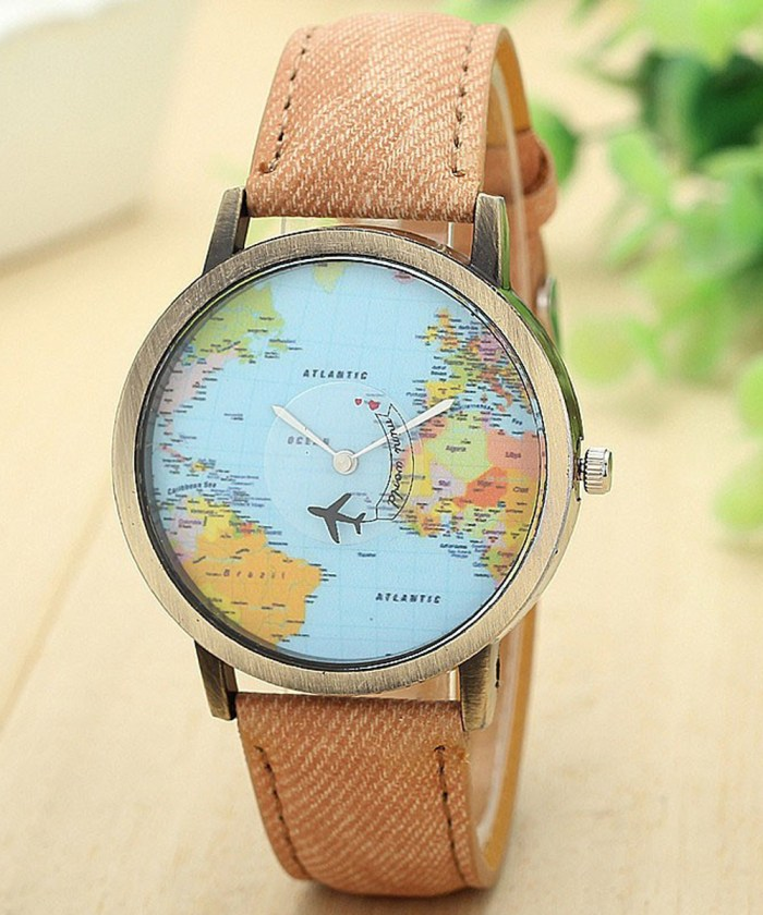 3D Moving Airplane Wrist Watch with World Map| Cream