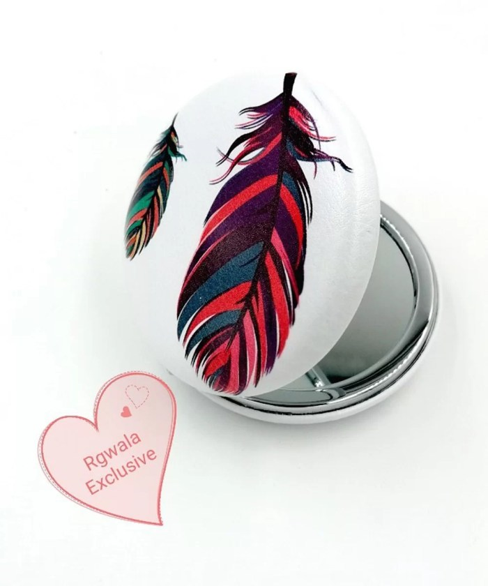 Big Colored Leaf on White Compact Mirror | Dual Power Mirror