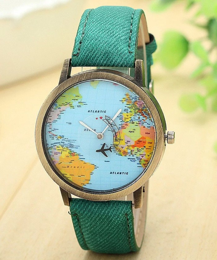3D Moving Airplane Wrist Watch with World Map  Green
