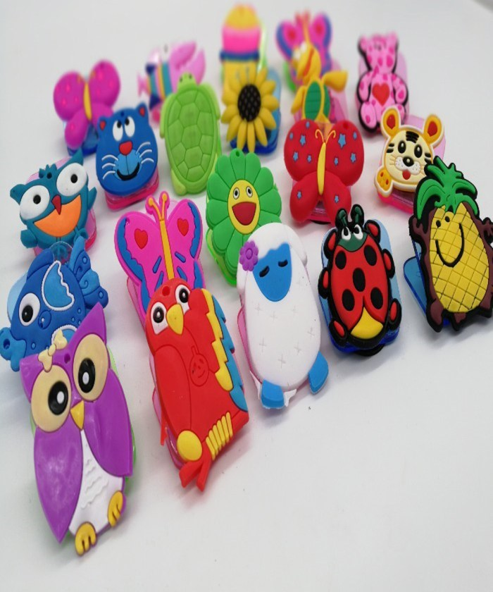 Super Cute 3d embossed Rubberized magnetic paper clips