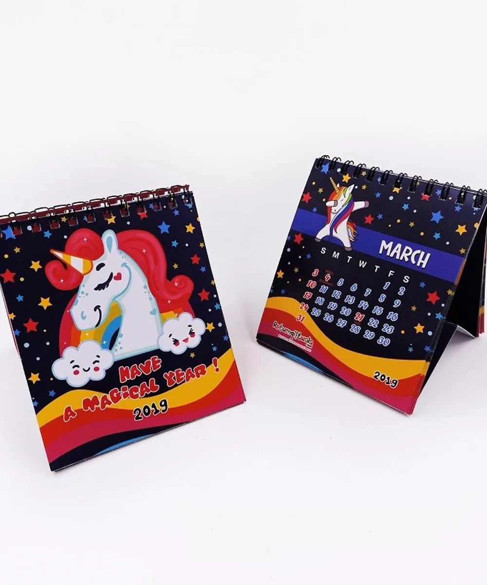 2020 Unicorn theme Colorful Customized Desk Calendars