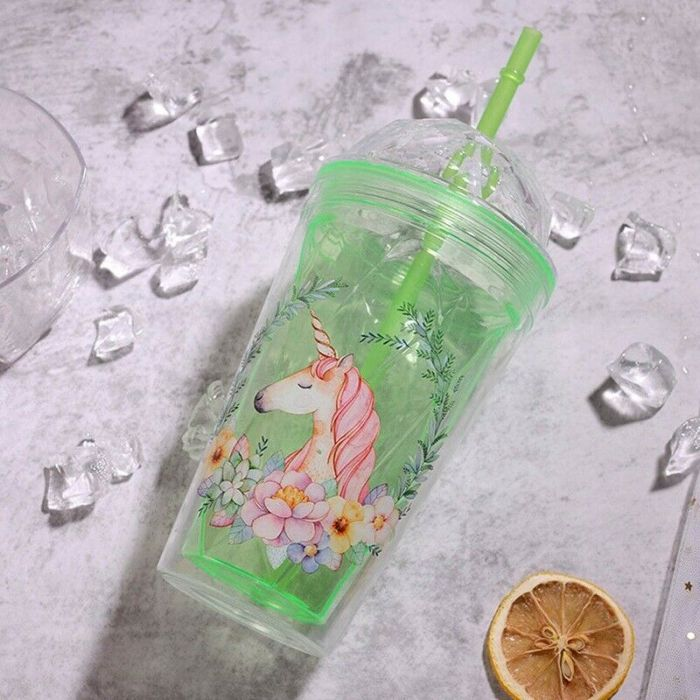 unicorn theme sipper cup straw
