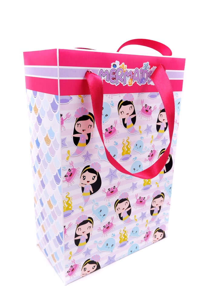 mermaid print paper bag for party gift