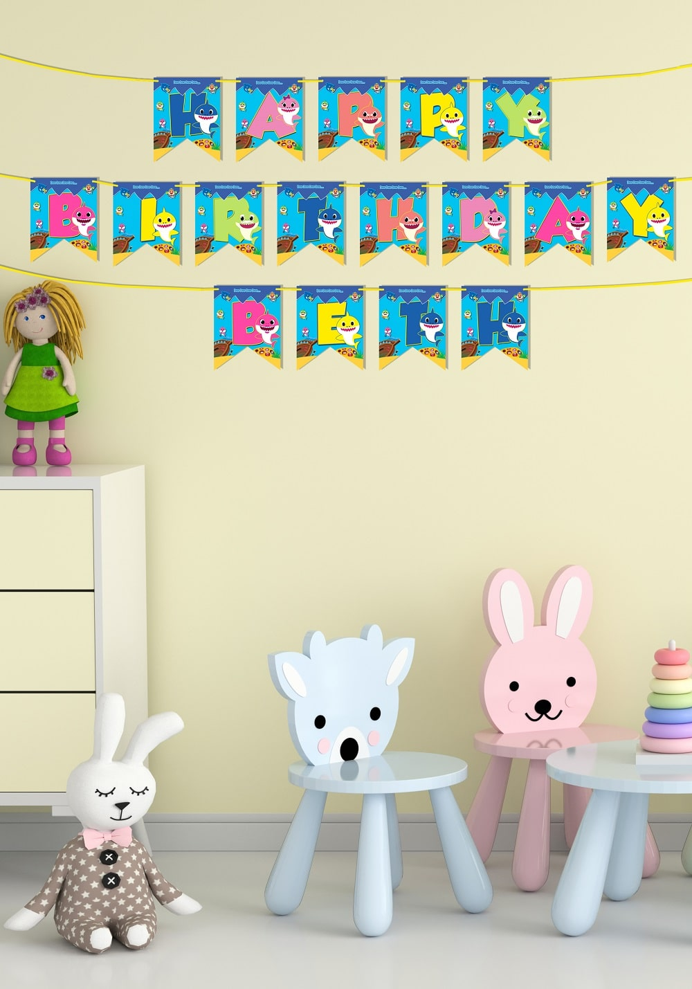baby shark theme banner for decorating party