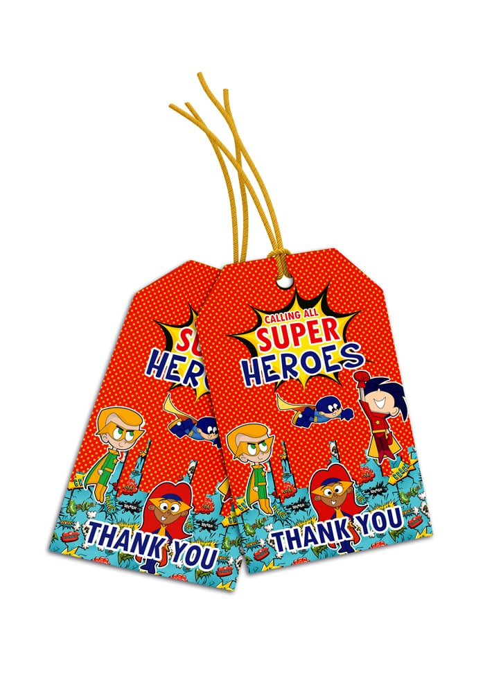 super heroes theme thank you cards