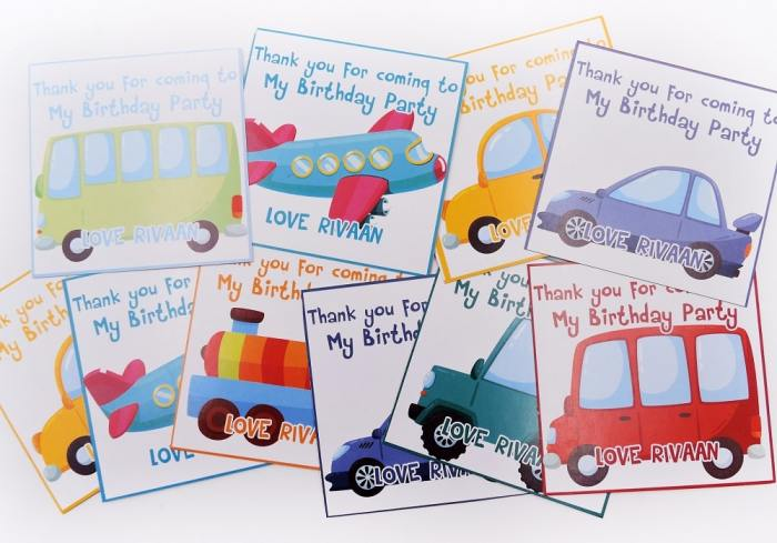 transport theme birthday thank you cards