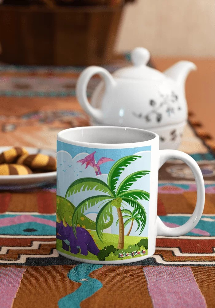 dinosaur print coffee mug
