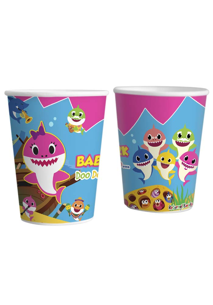 baby shark theme paper cups glasses