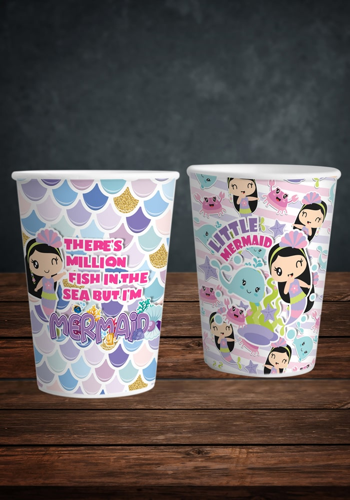 mermaid theme paper cups for party