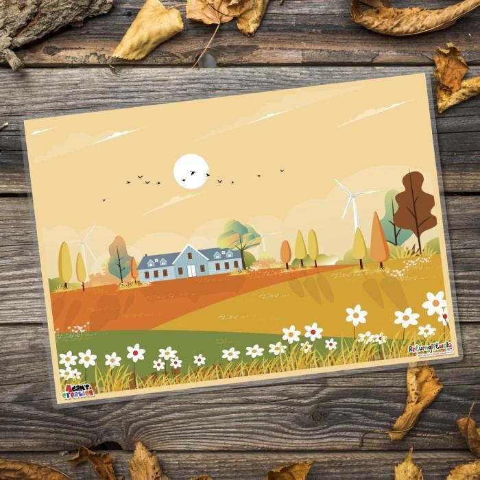 village scenery table mats-min