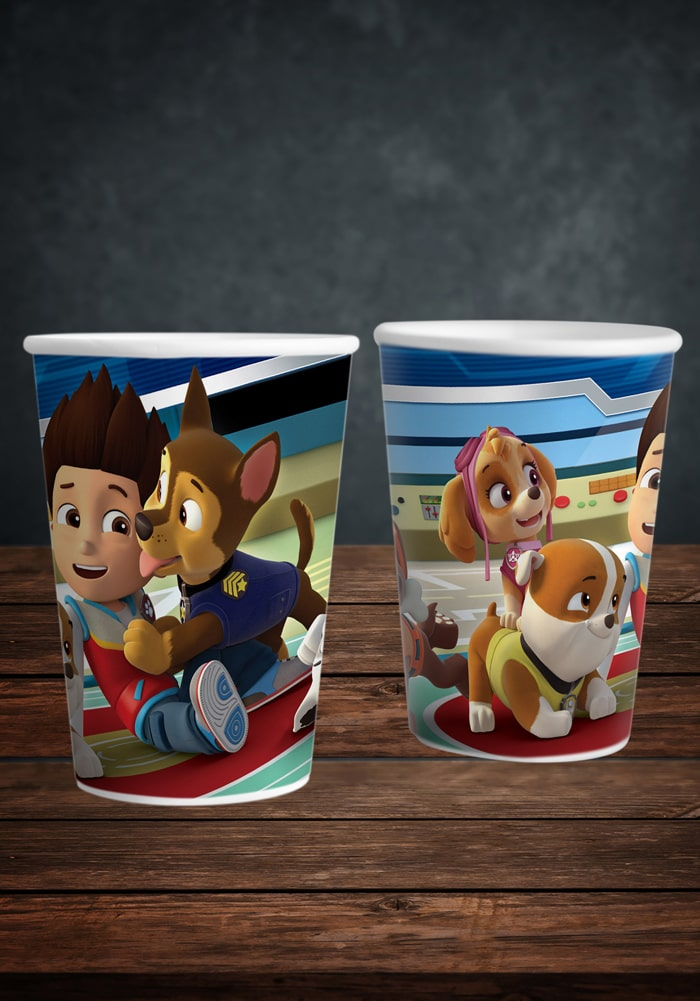 paw patrol theme paper cups