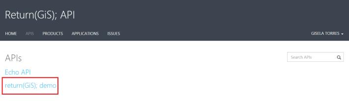 Developer portal APIS returngis