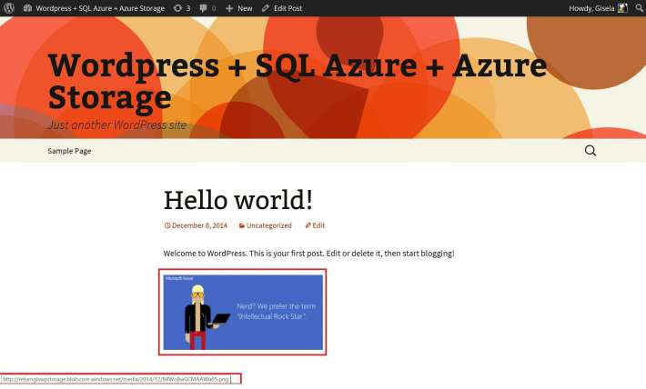Wordpress Azure Storage result