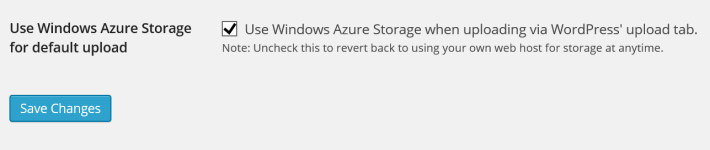 Wordpress Use Windows Azure Storage for default upload