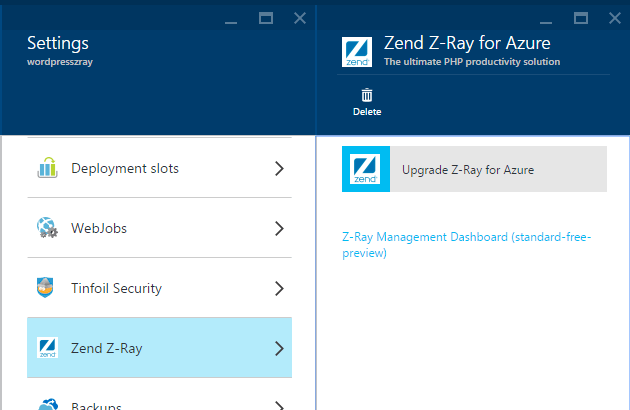 Zend Z-Ray for Azure link