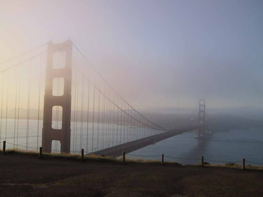 Image result for lone figure on a foggy bridge images